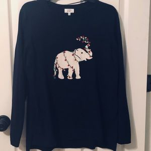 Crown & Ivy Sweater With Christmas Elephant